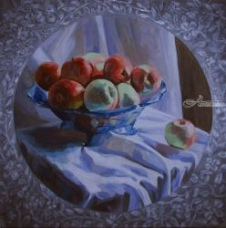Snow Calvile, Paintings, Fine Art,Photorealism,Realism, Floral,Still Life, Canvas,Oil, By Kateryna Bortsova