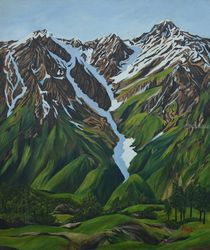 Snow Clad Mountains of<br>Himalayas, Paintings, Realism, Landscape, Canvas, By Ajay Harit