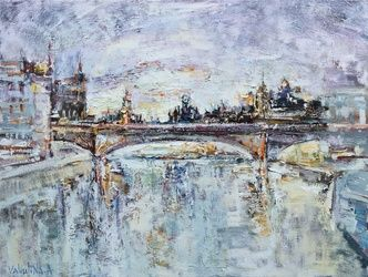 Snow-covered city Original oil<br>painting, Paintings, Abstract,Impressionism, Architecture,Cityscape, Oil, By Anastasiya Valiulina