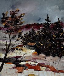 snow in ardennes, Architecture,Decorative Arts,Drawings / Sketch,Paintings, Expressionism, Landscape, Canvas, By Pol Ledent