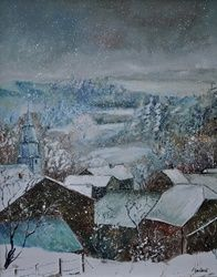 snow in Ouroy, Architecture,Decorative Arts,Drawings / Sketch,Paintings, Impressionism, Landscape, Canvas, By Pol Ledent