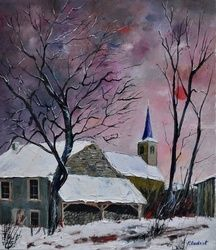 snow in  sevry, Architecture,Decorative Arts,Drawings / Sketch,Paintings, Impressionism, Landscape, Canvas, By Pol Ledent