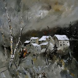Snow on village 8871, Architecture,Decorative Arts,Drawings / Sketch,Paintings, Impressionism, Landscape, Canvas, By Pol Ledent