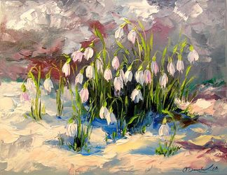Snowdrops, Paintings, Expressionism,Fine Art,Impressionism, Botanical,Floral,Seascape, Canvas,Oil,Painting, By Olha   Darchuk