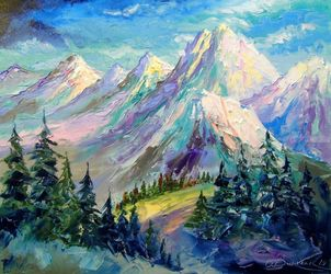Snowy mountains, Paintings, Expressionism,Fine Art,Impressionism, Botanical,Landscape,Nature, Canvas,Oil,Painting, By Olha   Darchuk