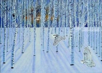 Snowy Owls in Flight, Paintings, Realism, Animals,Landscape,Nature, Acrylic, By OLIVER MACHADO
