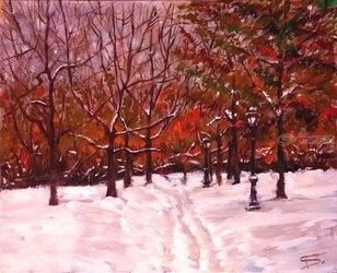 Snowy Path, Paintings, Impressionism, Landscape, Oil, By Tal Dvir