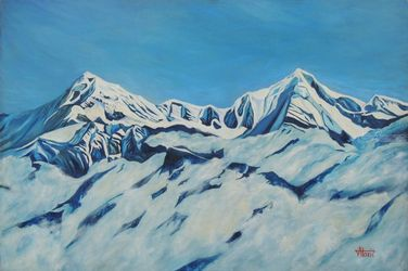 Snowy peaks, Paintings, Expressionism,Realism, Landscape, Canvas, By Ajay Harit