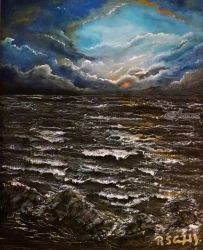 Solemn Sea, Paintings, Fine Art, Inspirational, Mixed, By Robert Crawford