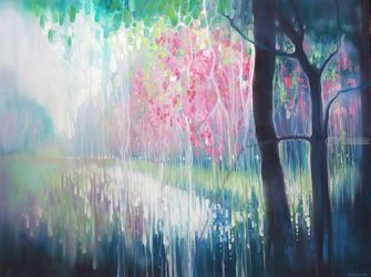 Song of April - a large<br>abstract landscape painting of<br>a Sussex river valley, Paintings, Abstract,Expressionism,Impressionism, Animals,Botanical,Composition,Floral,Landscape,Music,Spiritual,Wildlife, Oil, By Gill Bustamante