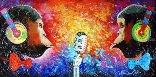 Song of monkeys music lovers, Paintings, Expressionism,Impressionism, Animals,Dance,Humor,Music, Canvas,Oil,Painting, By Olha   Darchuk