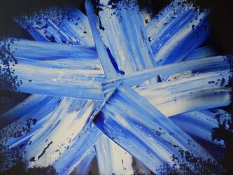 SPACE CRYSTALS--BLUE, Paintings, Abstract, Celestial / Space,Conceptual,Fantasy, Canvas, By William Birdwell