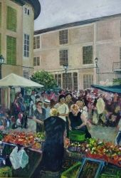 Spanish Market, Paintings, Realism, Figurative,Landscape, Acrylic, By Matthew Evans