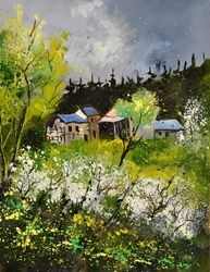 spring 454140, Architecture,Decorative Arts,Drawings / Sketch,Paintings, Impressionism, Nature, Canvas, By Pol Ledent