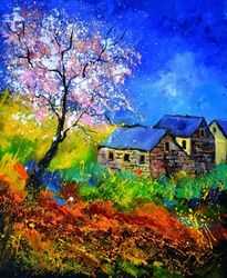 spring 566111, Paintings, Impressionism, Nature, Canvas, By Pol Ledent