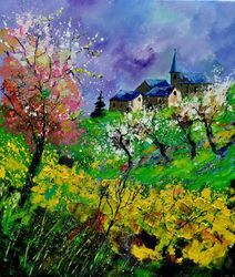 spring 671430, Architecture,Decorative Arts,Drawings / Sketch,Paintings, Impressionism, Landscape, Canvas, By Pol Ledent
