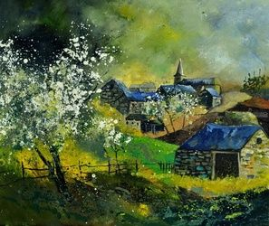 spring 6741, Architecture,Decorative Arts,Drawings / Sketch,Paintings, Impressionism, Landscape, Canvas, By Pol Ledent