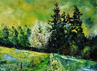 spring 6852, Architecture,Decorative Arts,Drawings / Sketch,Paintings, Impressionism, Landscape, Canvas, By Pol Ledent