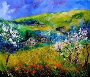 spring 767140, Architecture,Decorative Arts,Drawings / Sketch,Paintings, Impressionism, Landscape, Canvas, By Pol Ledent