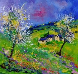 spring 774140, Architecture,Decorative Arts,Drawings / Sketch,Paintings, Expressionism, Landscape, Canvas, By Pol Ledent