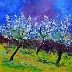 Spring appletrees, Architecture,Decorative Arts,Drawings / Sketch,Paintings, Impressionism, Landscape, Canvas, By Pol Ledent