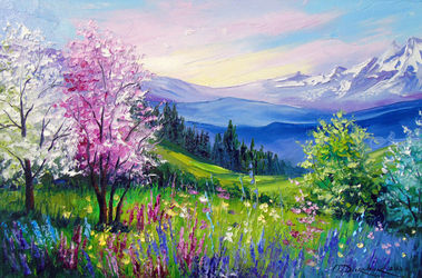 Spring at the Alps, Paintings, Expressionism,Fine Art,Impressionism, Botanical,Floral,Landscape,Nature, Canvas,Oil,Painting, By Olha   Darchuk
