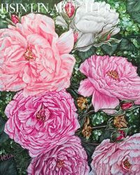 SPRING BACK TO LIFE - PEONIES, Paintings, Fine Art,Modernism,Photorealism,Realism, Botanical,Floral,Nature,Still Life, Acrylic, By HSIN LIN