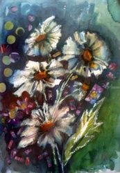 spring flowers, Collage,Paintings, Realism, Botanical,Fantasy,Floral, Mixed,Painting,Watercolor, By Maria Koleva
