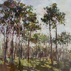 Spring forest Original<br>landscape painting, Paintings, Impressionism, Landscape, Canvas,Oil, By Anastasiya Valiulina