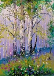 Spring in a birch grove, Paintings, Impressionism, Botanical,Floral,Landscape,Nature, Canvas,Oil,Painting, By Olha   Darchuk