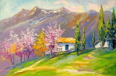 Spring in a mountain village, Paintings, Impressionism, Nature,Seascape, Canvas,Oil,Painting, By Olha   Darchuk