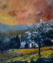 Spring in Gendron, Architecture,Decorative Arts,Drawings / Sketch,Paintings, Expressionism, Landscape, Canvas, By Pol Ledent