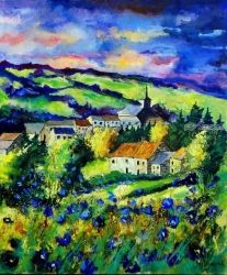 Spring in Heeroy, Architecture,Decorative Arts,Drawings / Sketch,Paintings, Expressionism, Botanical, Canvas, By Pol Ledent