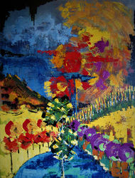 spring in namaqualand, Paintings, Abstract,Expressionism, Floral,Landscape,Nature, Acrylic, By irma engelbrecht