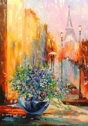 Spring in Paris, Architecture,Paintings, Fine Art,Impressionism,Romanticism, Architecture,Botanical,Cityscape,Floral, Canvas,Oil,Painting, By Olha   Darchuk