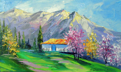 Spring in the mountains, Paintings, Impressionism, Botanical,Floral,Land Art,Landscape,Nature, Canvas,Oil,Painting, By Olha   Darchuk