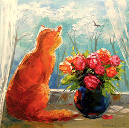 Spring outside the window, Paintings, Fine Art,Impressionism, Animals,Botanical,Floral,Nature, Canvas,Oil,Painting, By Olha   Darchuk