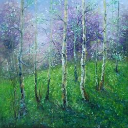 SPRING POEM, Paintings, Fine Art,Impressionism,Realism,Romanticism, Botanical,Landscape,Moving Images,Nature, Canvas,Oil, By Emilia Milcheva