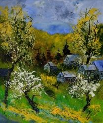 Spring village, Architecture,Decorative Arts,Drawings / Sketch,Paintings, Impressionism, Botanical, Canvas, By Pol Ledent