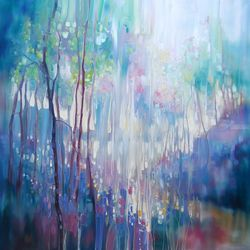 Spring Waits - a large<br>woodland abstract with<br>bluebells, lakes and trees, Paintings, Abstract,Expressionism,Modernism, Floral,Inspirational,Landscape,Wildlife, Oil, By Gill Bustamante