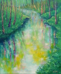 SPRINGTIME MIRROR original oil<br>painting, Paintings, Fine Art,Impressionism,Realism, Land Art,Landscape,Nature, Canvas,Oil, By Emilia Milcheva