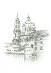 St. Nicholas Church, Prague, Graphic, Fine Art,Impressionism,Realism, Architecture, Pencil, By Ivan Klymenko