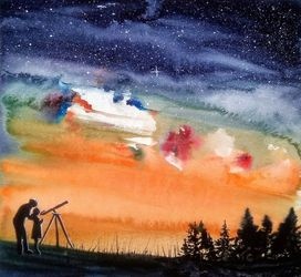 Star Gazing, Paintings, Fine Art, Landscape, Watercolor, By james lagasse
