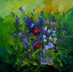 still life 887170, Paintings, Expressionism, Floral, Canvas, By Pol Ledent