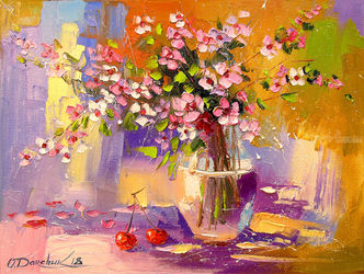 Still life with a bouquet of<br>meadow flowers, Paintings, Expressionism,Fine Art,Impressionism, Botanical,Floral,Nature, Canvas,Oil,Painting, By Olha   Darchuk