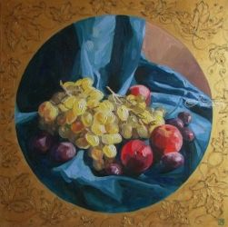 Still life with grapes, Paintings, Fine Art,Photorealism,Realism, Botanical,Figurative,Floral,Still Life, Canvas,Oil, By Kateryna Bortsova