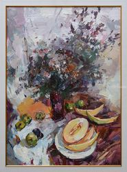 Still life with melons -<br>Original oil painting  framed., Paintings, Impressionism, Floral,Still Life, Oil, By Anastasiya Valiulina