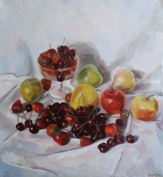 Still life with merry, Paintings, Fine Art,Photorealism,Realism, Botanical,Floral,Still Life, Canvas,Oil, By Kateryna Bortsova