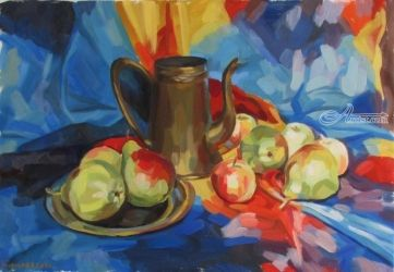 Still life with pears, Paintings, Fine Art,Photorealism,Realism, Botanical,Figurative,Still Life, Canvas,Oil,Painting, By Kateryna Bortsova