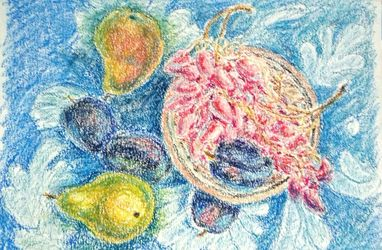 Still life with pears, plums<br>and grape, Drawings / Sketch, Impressionism, Still Life, Oil,Pastel, By Tetyana K